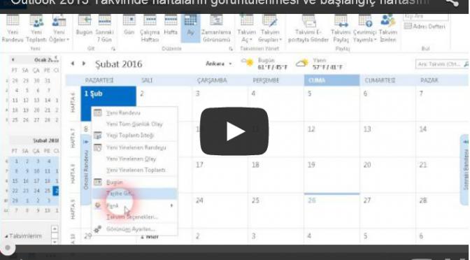 Outlook 2013 Takviminde hafta numaralarını görüntülemek